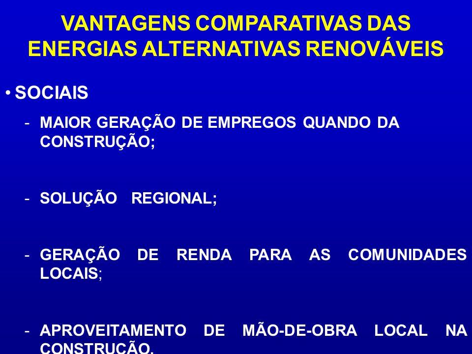 VANTAGENS COMPARATIVAS DAS ENERGIAS ALTERNATIVAS RENOVÁVEIS -MAIOR GERAÇÃO DE EMPREGOS QUANDO DA CONSTRUÇÃO; -SOLUÇÃO REGIONAL; -GERAÇÃO DE RENDA PARA
