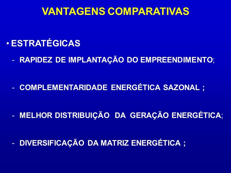 VANTAGENS COMPARATIVAS -RAPIDEZ DE IMPLANTAÇÃO DO EMPREENDIMENTO; -COMPLEMENTARIDADE ENERGÉTICA SAZONAL ; -MELHOR DISTRIBUIÇÃO DA GERAÇÃO ENERGÉTICA;