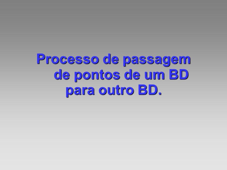 Processo de passagem de pontos de um BD para outro BD.