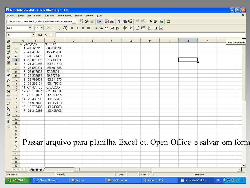 Passar arquivo para planilha Excel ou Open-Office e salvar em formato dbf