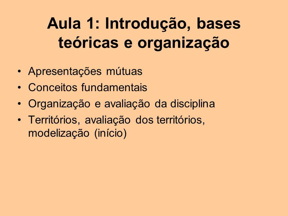 Aula 1: Introdução, bases teóricas e organização Apresentações mútuas Conceitos fundamentais Organização e avaliação da disciplina Territórios, avaliação dos territórios, modelização (início)