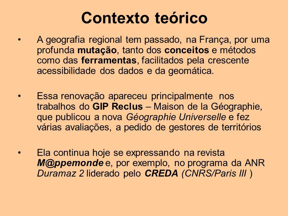 A geografia regional tem passado, na França, por uma profunda mutação, tanto dos conceitos e métodos como das ferramentas, facilitados pela crescente
