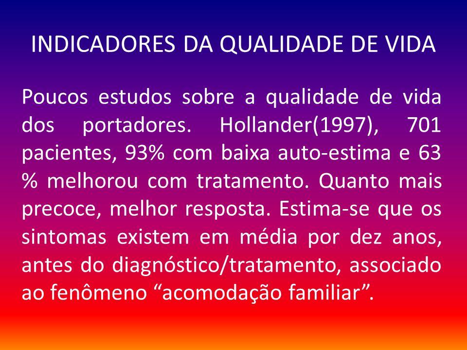 INDICADORES DA QUALIDADE DE VIDA Poucos estudos sobre a qualidade de vida dos portadores. Hollander(1997), 701 pacientes, 93% com baixa auto-estima e