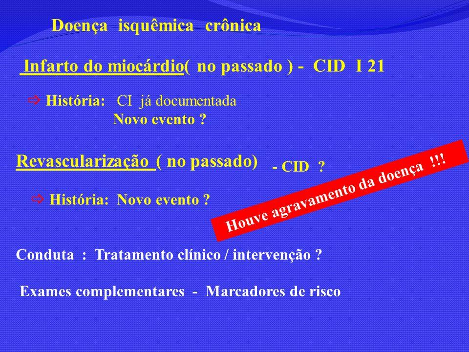 Doença isquêmica crônica Infarto do miocárdio( no passado ) - CID I 21 História: CI já documentada Novo evento ? Revascularização ( no passado) - CID