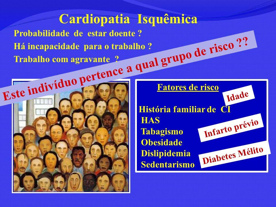 Cardiopatia Isquêmica Fatores de risco História familiar de CI HAS Tabagismo Obesidade Dislipidemia Sedentarismo Este indivíduo pertence a qual grupo de risco ?.