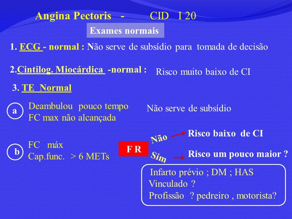 1. ECG - normal : Não serve de subsídio para tomada de decisão Angina Pectoris - CID I 20 3. TE Normal F R 2.Cintilog. Miocárdica -normal : Risco muit