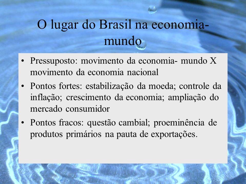 O lugar do Brasil na economia- mundo Pressuposto: movimento da economia- mundo X movimento da economia nacional Pontos fortes: estabilização da moeda;