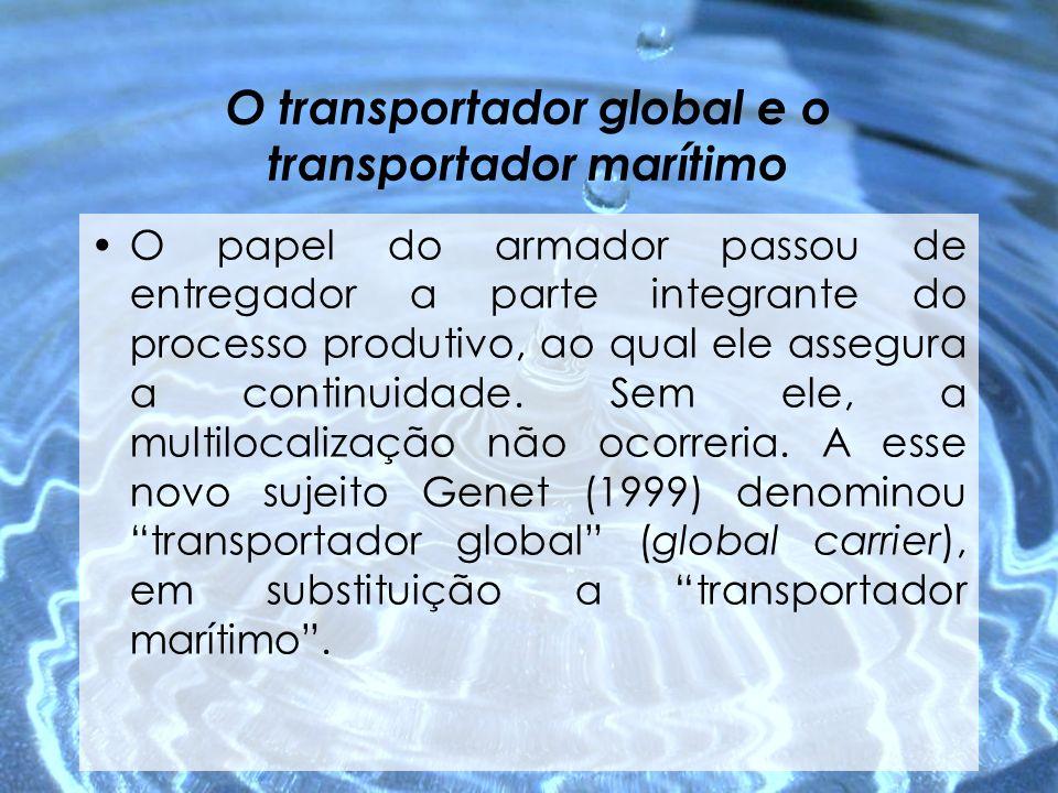 O transportador global e o transportador marítimo O papel do armador passou de entregador a parte integrante do processo produtivo, ao qual ele assegu