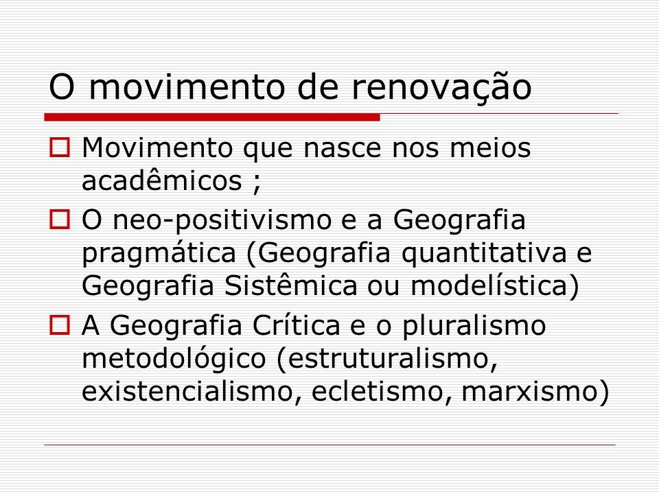 O movimento de renovação Movimento que nasce nos meios acadêmicos ; O neo-positivismo e a Geografia pragmática (Geografia quantitativa e Geografia Sis
