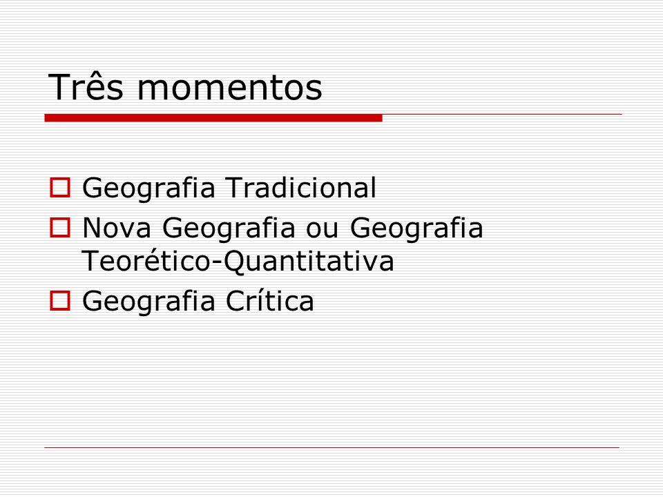 Três momentos Geografia Tradicional Nova Geografia ou Geografia Teorético-Quantitativa Geografia Crítica