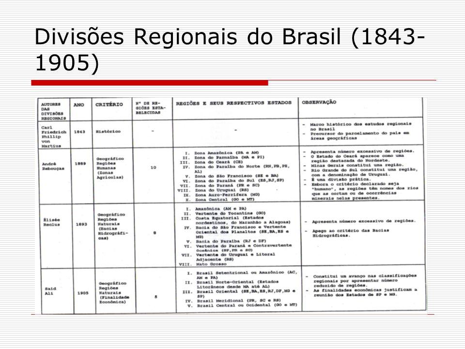 Divisões Regionais do Brasil (1843- 1905)