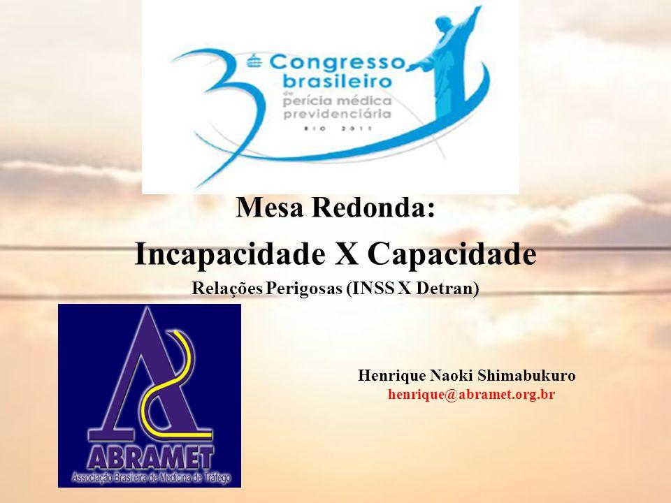 Mesa Redonda: Incapacidade X Capacidade Relações Perigosas (INSS X Detran) Henrique Naoki Shimabukuro henrique@abramet.org.br