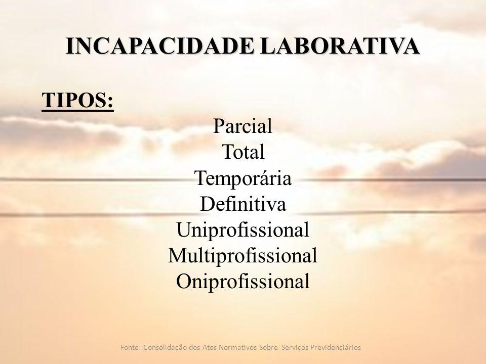 INCAPACIDADE LABORATIVA TIPOS: Parcial Total Temporária Definitiva Uniprofissional Multiprofissional Oniprofissional Fonte: Consolidação dos Atos Norm