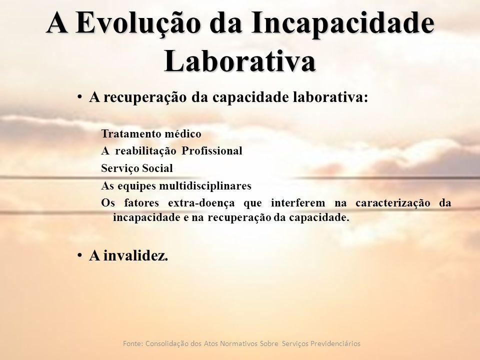 A Evolução da Incapacidade Laborativa A recuperação da capacidade laborativa: Tratamento médico A reabilitação Profissional Serviço Social As equipes