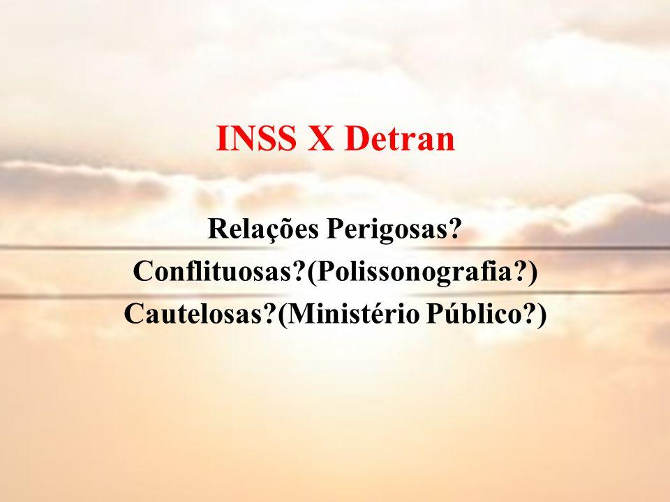 INSS X Detran Relações Perigosas? Conflituosas?(Polissonografia?) Cautelosas?(Ministério Público?)