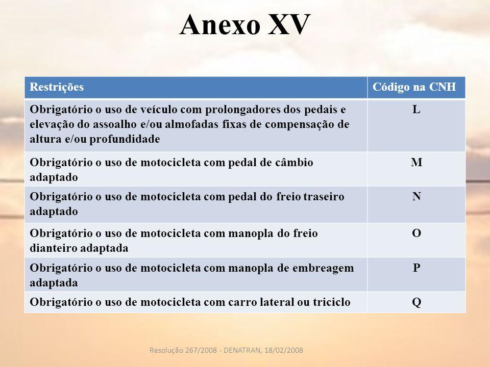 Anexo XV RestriçõesCódigo na CNH Obrigatório o uso de veículo com prolongadores dos pedais e elevação do assoalho e/ou almofadas fixas de compensação