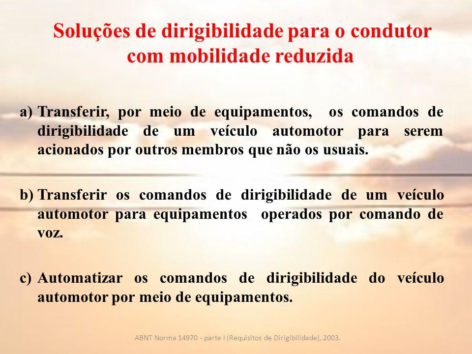 Soluções de dirigibilidade para o condutor com mobilidade reduzida a)Transferir, por meio de equipamentos, os comandos de dirigibilidade de um veículo