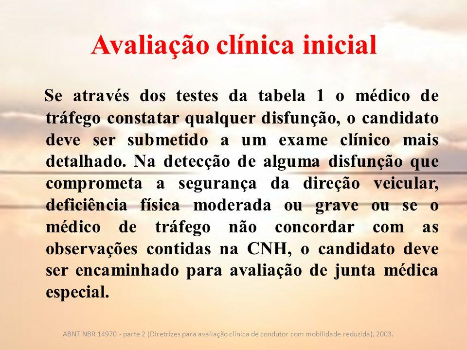 Avaliação clínica inicial Se através dos testes da tabela 1 o médico de tráfego constatar qualquer disfunção, o candidato deve ser submetido a um exam