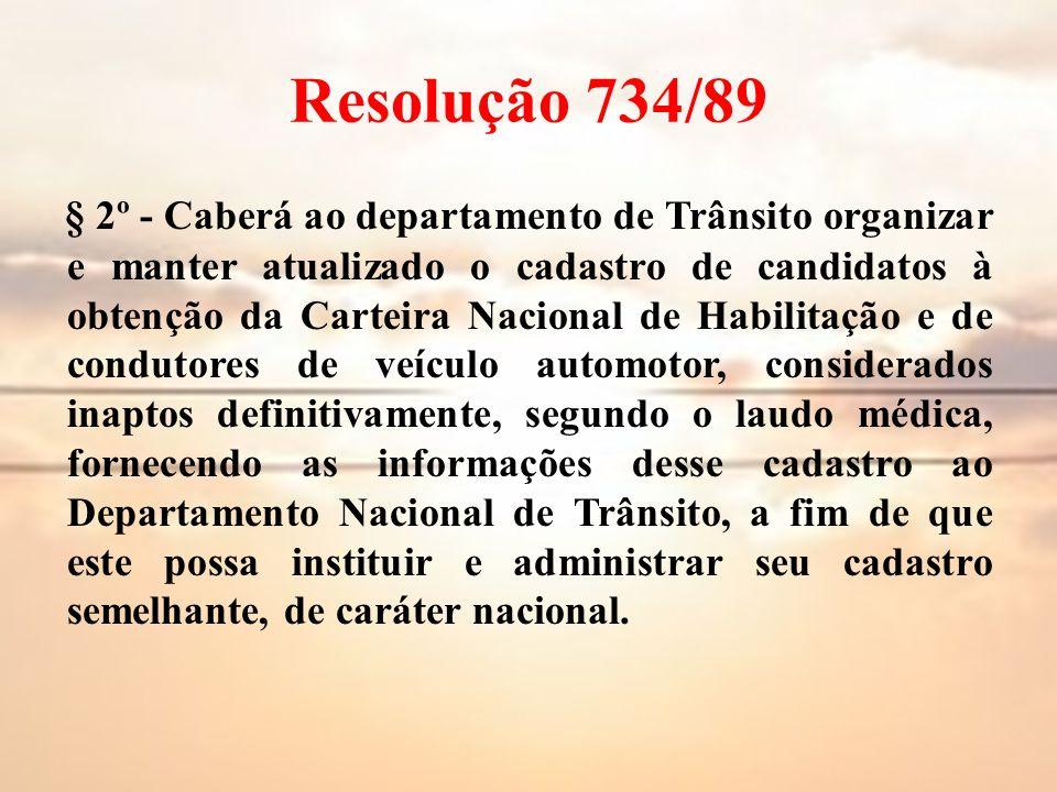 Resolução 734/89 § 2º - Caberá ao departamento de Trânsito organizar e manter atualizado o cadastro de candidatos à obtenção da Carteira Nacional de H