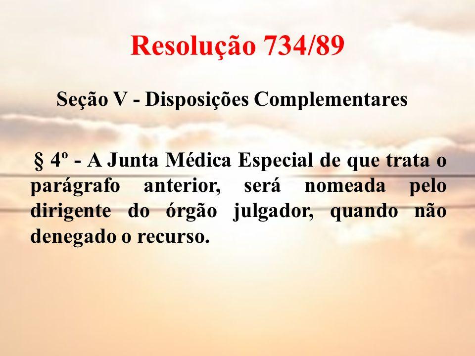 Resolução 734/89 Seção V - Disposições Complementares § 4º - A Junta Médica Especial de que trata o parágrafo anterior, será nomeada pelo dirigente do