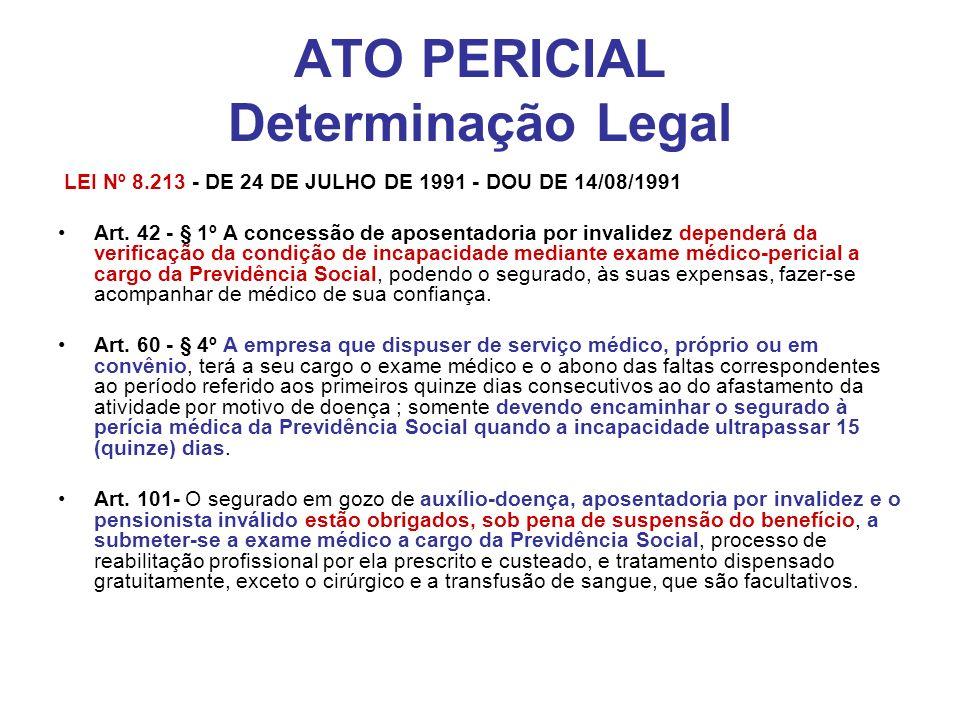 ATO PERICIAL Determinação Legal LEI Nº 8.213 - DE 24 DE JULHO DE 1991 - DOU DE 14/08/1991 Art. 42 - § 1º A concessão de aposentadoria por invalidez de