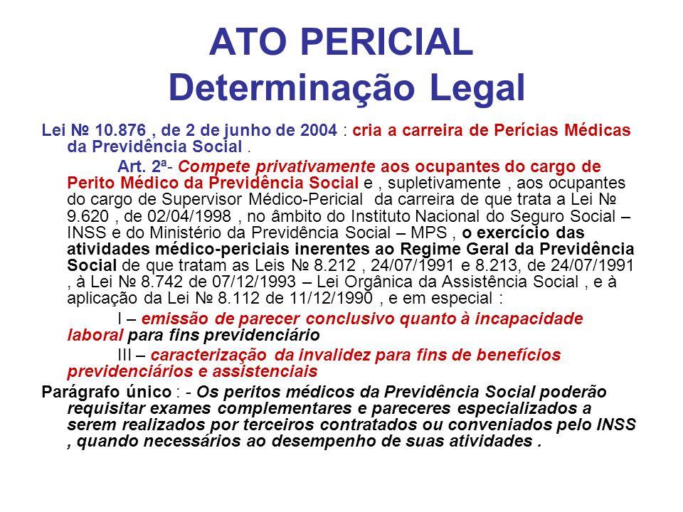 ATO PERICIAL Determinação Legal Lei 10.876, de 2 de junho de 2004 : cria a carreira de Perícias Médicas da Previdência Social. Art. 2ª- Compete privat