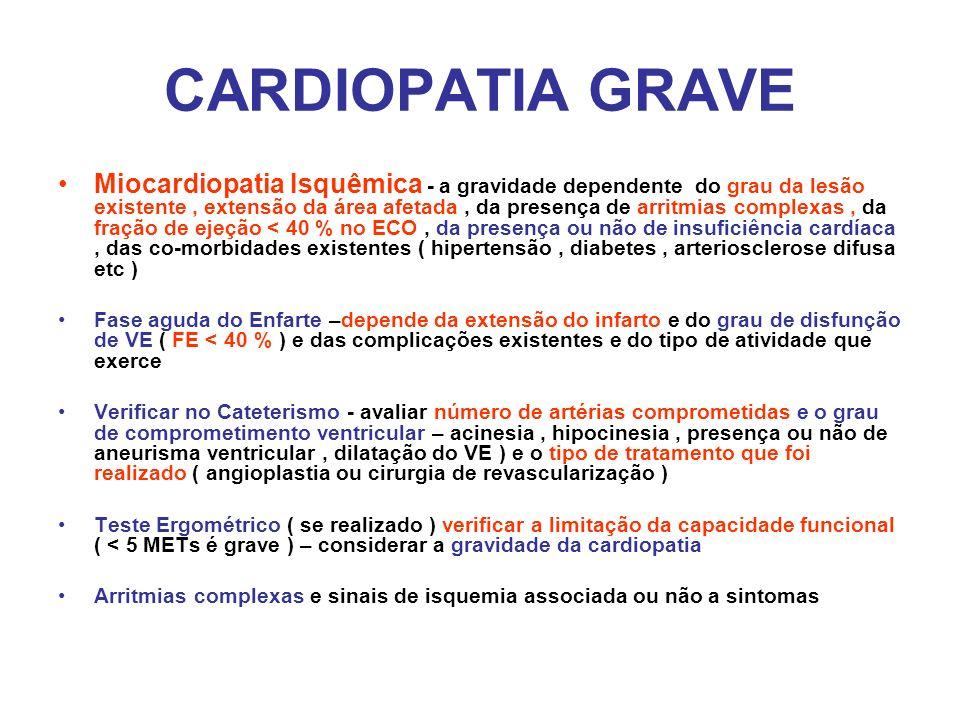 CARDIOPATIA GRAVE Miocardiopatia Isquêmica - a gravidade dependente do grau da lesão existente, extensão da área afetada, da presença de arritmias com