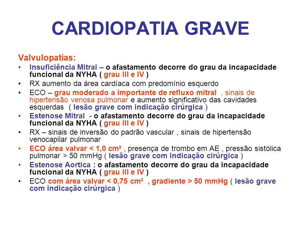 CARDIOPATIA GRAVE Valvulopatias: Insuficiência Mitral – o afastamento decorre do grau da incapacidade funcional da NYHA ( grau III e IV ) RX aumento d