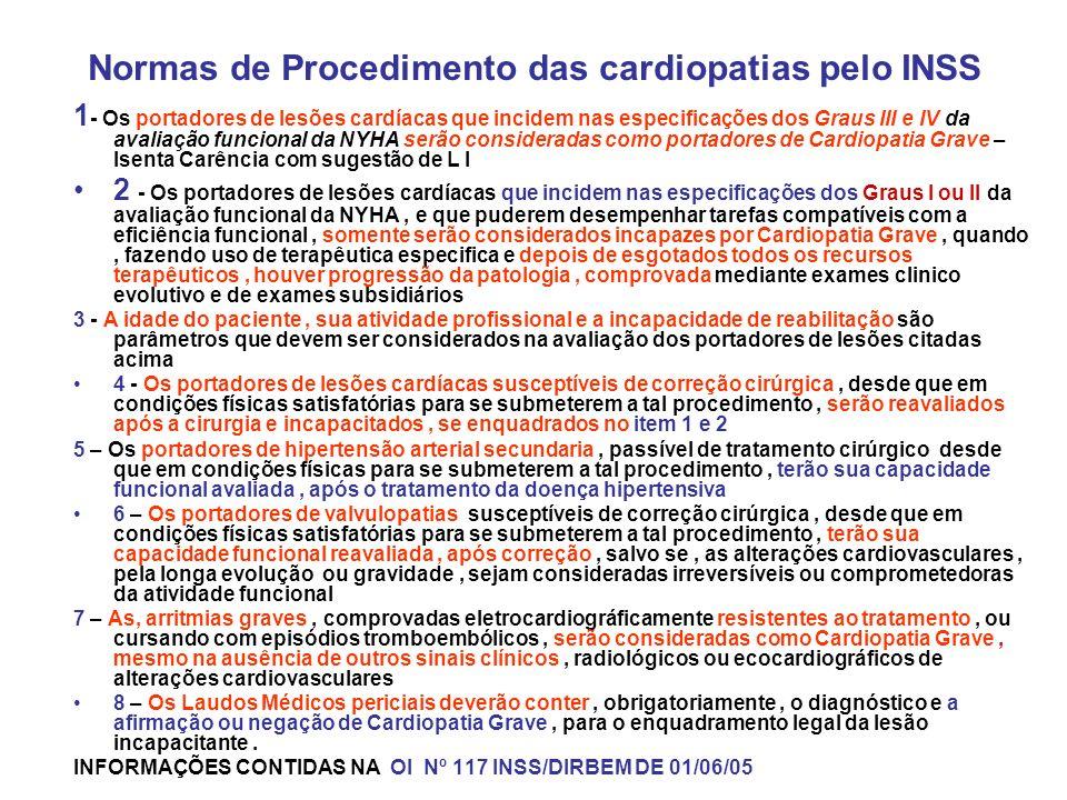 Normas de Procedimento das cardiopatias pelo INSS 1 - Os portadores de lesões cardíacas que incidem nas especificações dos Graus III e IV da avaliação