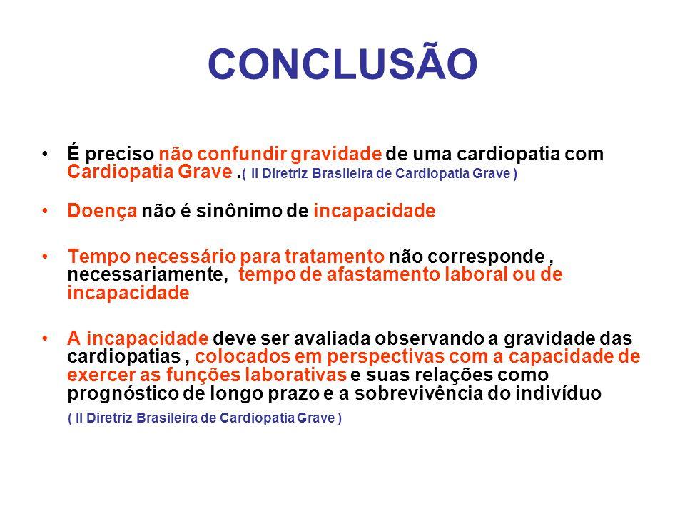 CONCLUSÃO É preciso não confundir gravidade de uma cardiopatia com Cardiopatia Grave. ( II Diretriz Brasileira de Cardiopatia Grave ) Doença não é sin