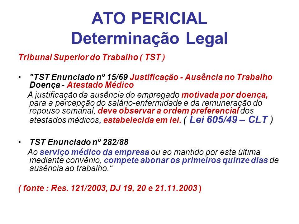 ATO PERICIAL Determinação Legal Tribunal Superior do Trabalho ( TST )