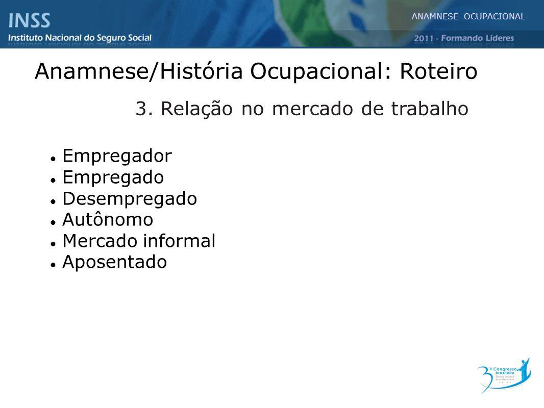 Anamnese/História Ocupacional: Roteiro Empregador Empregado Desempregado Autônomo Mercado informal Aposentado outros 3. Relação no mercado de trabalho