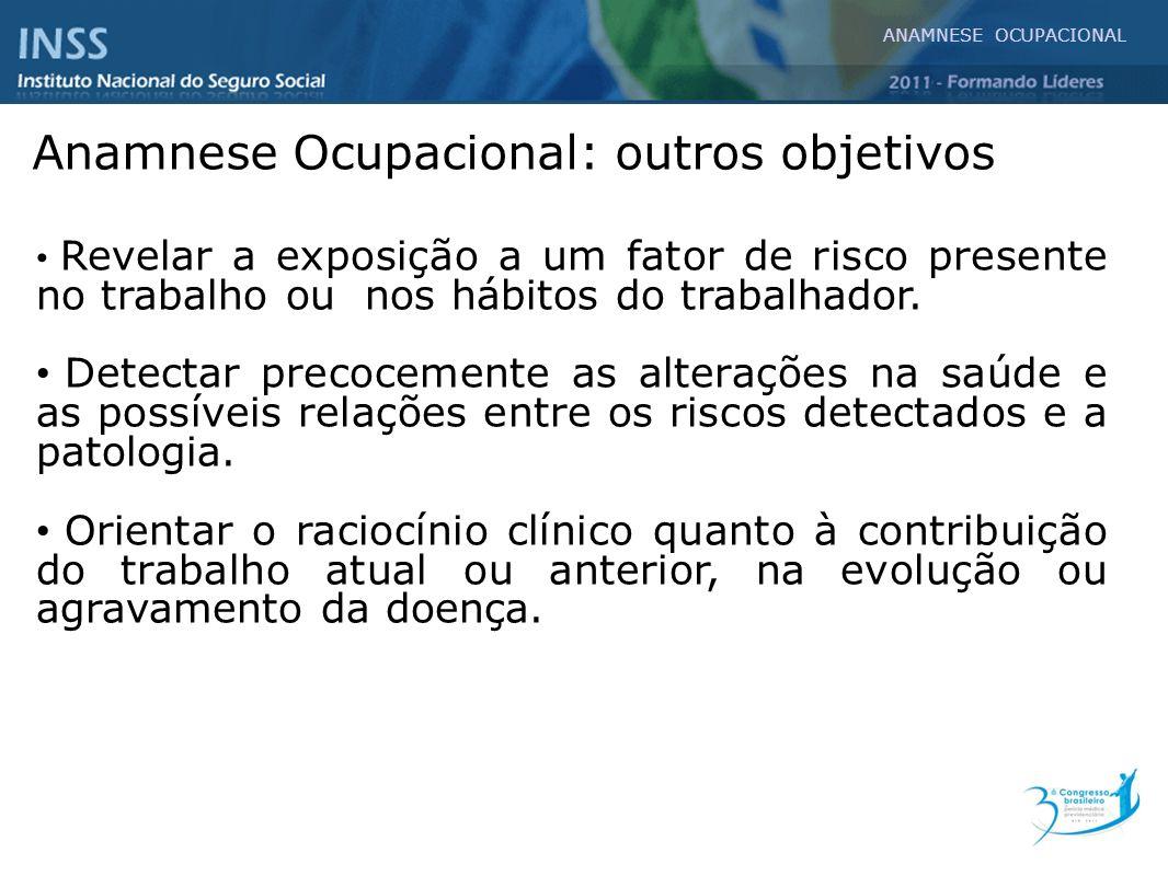 ANAMNESE OCUPACIONAL Anamnese Ocupacional: Roteiro Atividade atual Atividades anteriores 5.