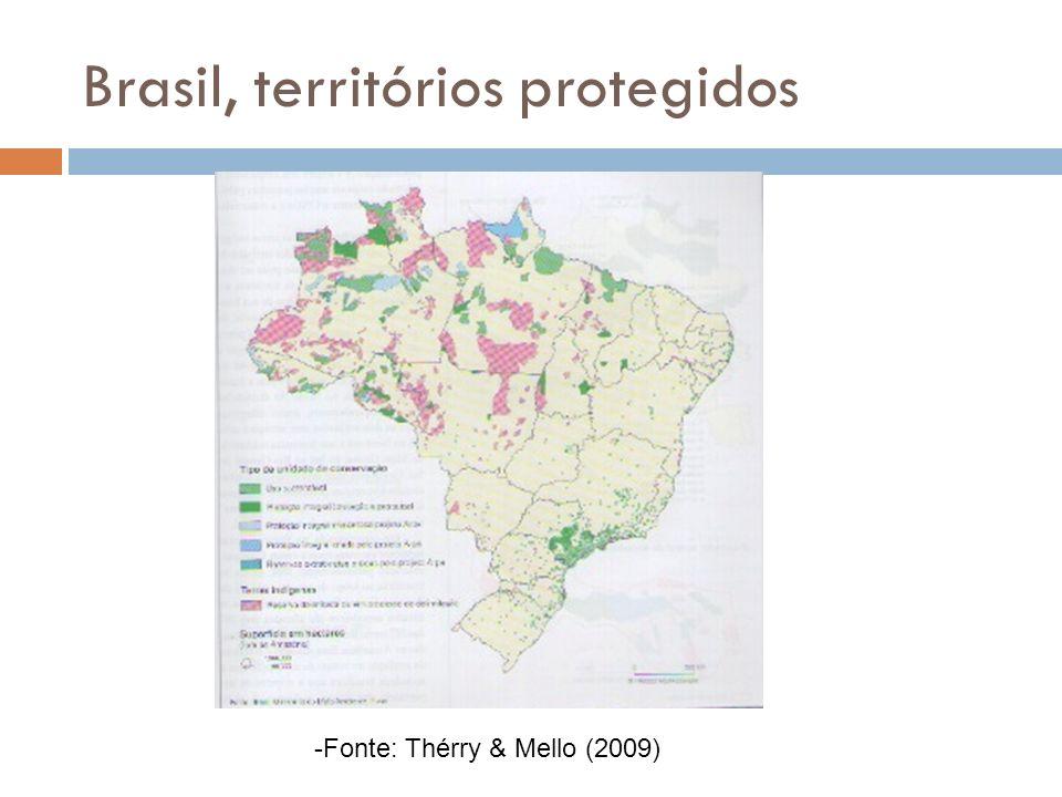 Brasil, territórios protegidos -Fonte: Thérry & Mello (2009)