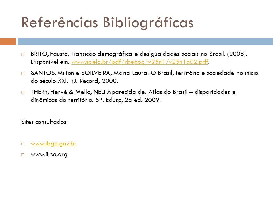 Referências Bibliográficas BRITO, Fausto. Transição demográfica e desigualdades sociais no Brasil. (2008). Disponível em: www.scielo.br/pdf/rbepop/v25