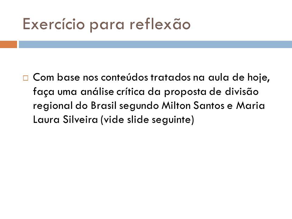 Exercício para reflexão Com base nos conteúdos tratados na aula de hoje, faça uma análise crítica da proposta de divisão regional do Brasil segundo Mi