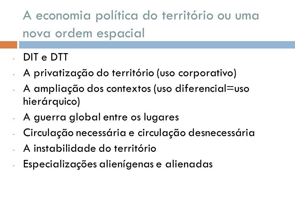 A economia política do território ou uma nova ordem espacial - DIT e DTT - A privatização do território (uso corporativo) - A ampliação dos contextos