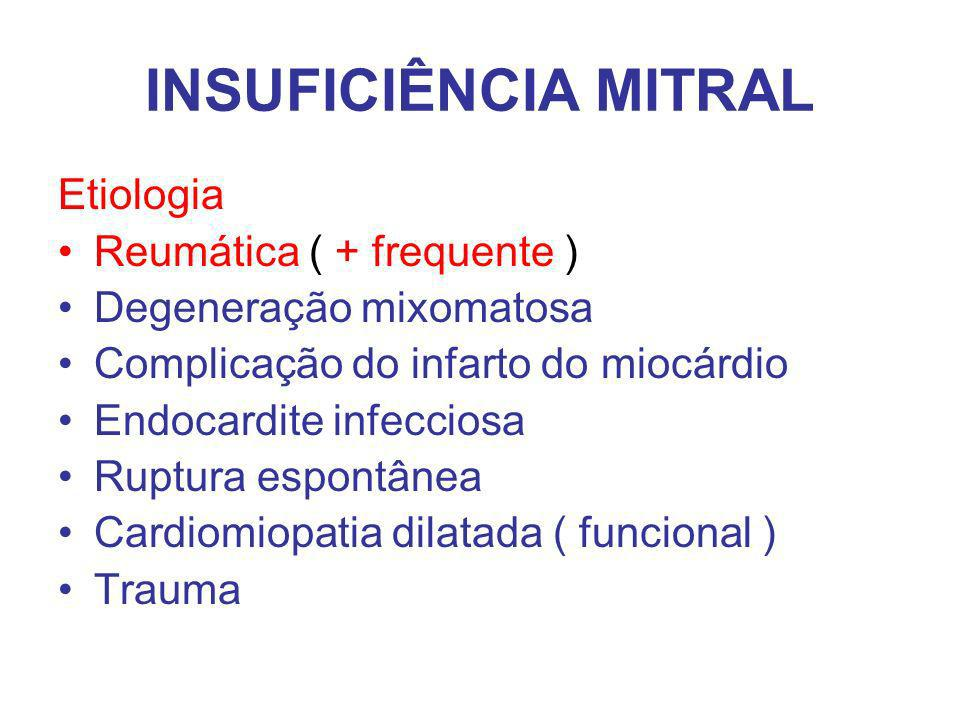 Etiologia Reumática ( + frequente ) Degeneração mixomatosa Complicação do infarto do miocárdio Endocardite infecciosa Ruptura espontânea Cardiomiopatia dilatada ( funcional ) Trauma