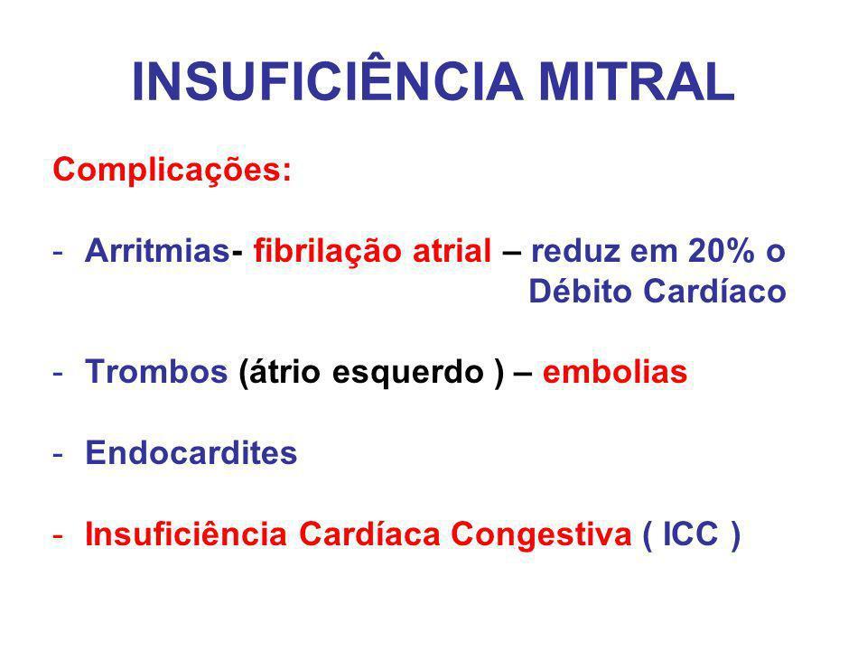 INSUFICIÊNCIA MITRAL Complicações: -Arritmias- fibrilação atrial – reduz em 20% o Débito Cardíaco -Trombos (átrio esquerdo ) – embolias -Endocardites -Insuficiência Cardíaca Congestiva ( ICC )