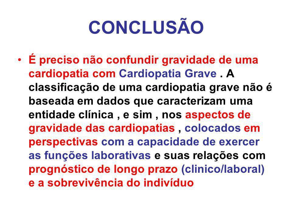 CONCLUSÃO É preciso não confundir gravidade de uma cardiopatia com Cardiopatia Grave.