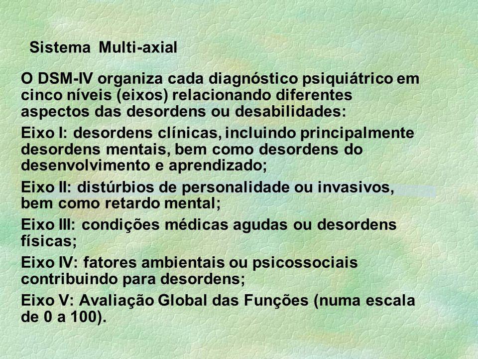 Sistema Multi-axial O DSM-IV organiza cada diagnóstico psiquiátrico em cinco níveis (eixos) relacionando diferentes aspectos das desordens ou desabilidades: Eixo I: desordens clínicas, incluindo principalmente desordens mentais, bem como desordens do desenvolvimento e aprendizado; Eixo II: distúrbios de personalidade ou invasivos, bem como retardo mental; Eixo III: condições médicas agudas ou desordens físicas; Eixo IV: fatores ambientais ou psicossociais contribuindo para desordens; Eixo V: Avaliação Global das Funções (numa escala de 0 a 100).