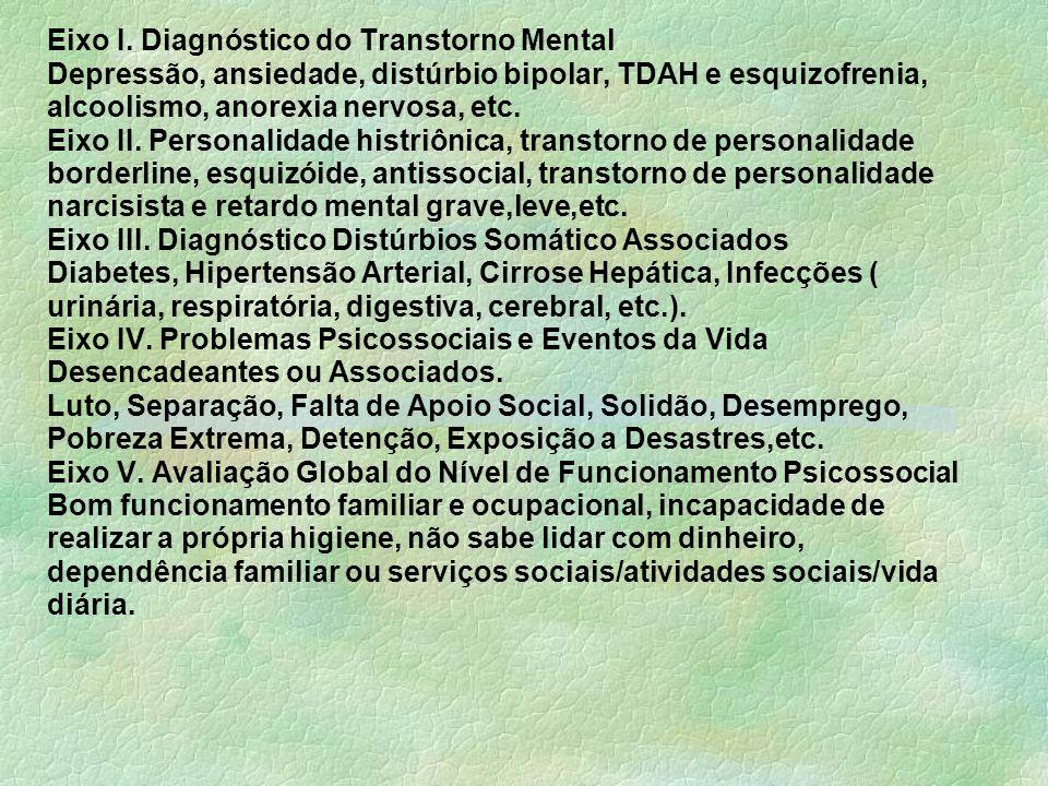 Eixo I. Diagnóstico do Transtorno Mental Depressão, ansiedade, distúrbio bipolar, TDAH e esquizofrenia, alcoolismo, anorexia nervosa, etc. Eixo II. Pe