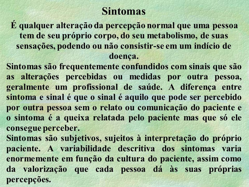 Sintomas É qualquer alteração da percepção normal que uma pessoa tem de seu próprio corpo, do seu metabolismo, de suas sensações, podendo ou não consistir-se em um indício de doença.