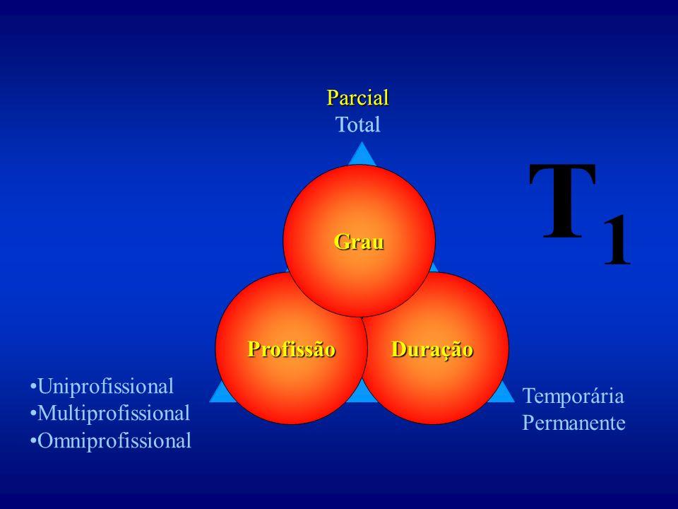 Duração Uniprofissional Multiprofissional Omniprofissional Parcial Total Temporária Permanente Profissão Grau Parcial Total T1T1