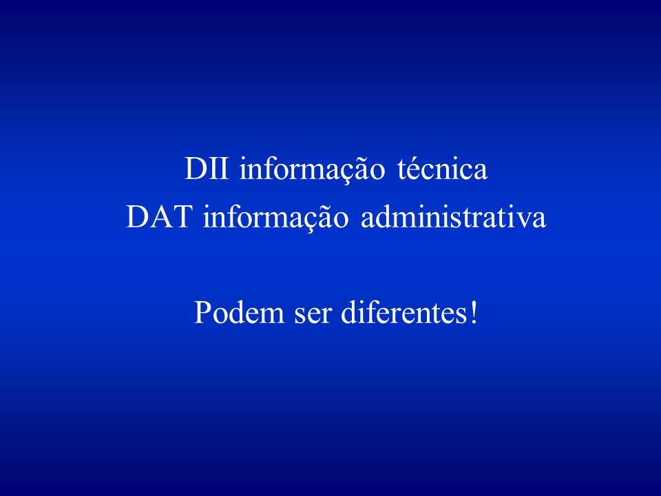 DII informação técnica DAT informação administrativa Podem ser diferentes!