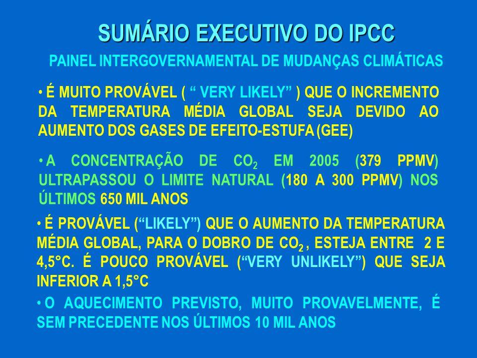 SUMÁRIO EXECUTIVO DO IPCC PAINEL INTERGOVERNAMENTAL DE MUDANÇAS CLIMÁTICAS É MUITO PROVÁVEL ( VERY LIKELY ) QUE O INCREMENTO DA TEMPERATURA MÉDIA GLOB