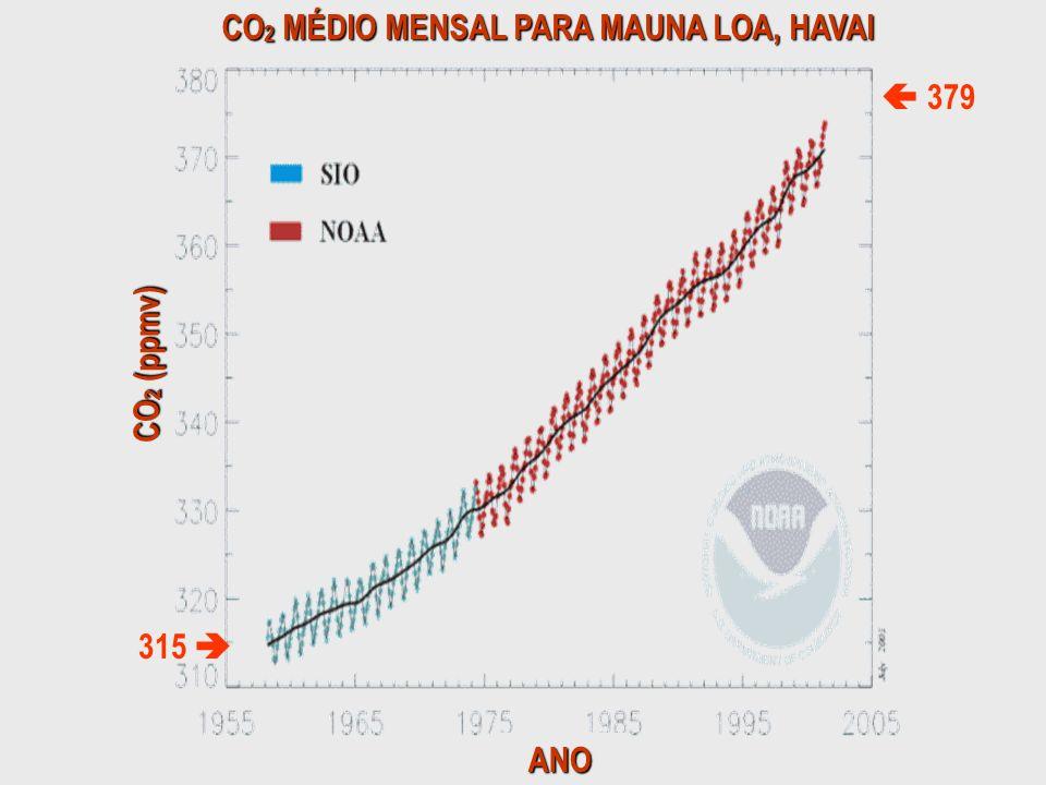 CO 2 MÉDIO MENSAL PARA MAUNA LOA, HAVAI CO 2 (ppmv) ANO 315 379