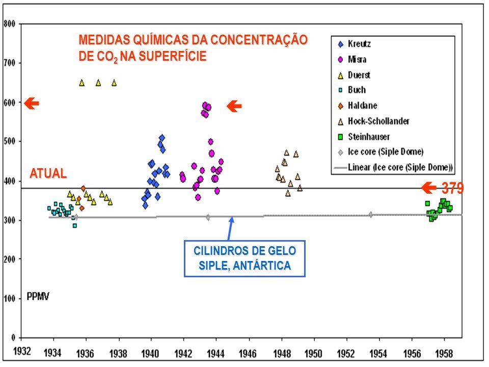 MEDIDAS QUÍMICAS DA CONCENTRAÇÃO DE CO 2 NA SUPERFÍCIE ATUAL CILINDROS DE GELO SIPLE, ANTÁRTICA FONTE: BIJKERK, 2007 379