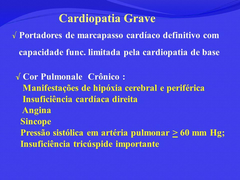 Portadores de marcapasso cardíaco definitivo com capacidade func. limitada pela cardiopatia de base Cor Pulmonale Crônico : Manifestações de hipóxia c