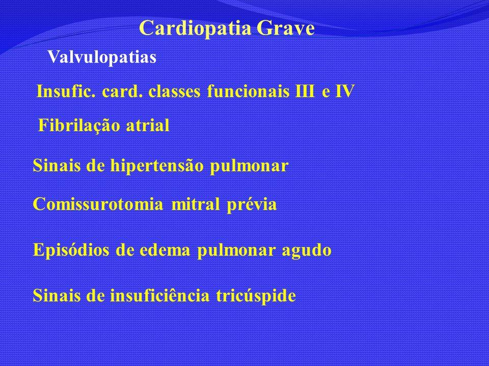 Valvulopatias Insufic. card. classes funcionais III e IV Fibrilação atrial Sinais de hipertensão pulmonar Comissurotomia mitral prévia Episódios de ed
